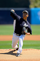 New York Yankees pitcher Hiroki Kuroda #18 during a Spring Training game against the Pittsburgh Pirates at Legends Field on March 28, 2013 in Tampa, Florida.  (Mike Janes/Four Seam Images)