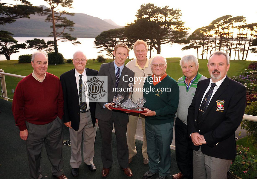 To mark his forthcoming 90th birthday, the  Kerry Seniors Golf Tour made a special presentation to long serving member and former Kerry footballer Mick Finucane following their outing at Killarney Golf Club last Friday. Kerry footballer Colm Cooper the presentation. Also pictured from left are Tony O'Connor, Tom Grant,  John Clifford, Tomas O'Se and Chris Collins, KIllarney Golf Club Captain. Picture: Eamonn Keogh (MacMonagle, Killarney).