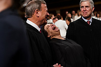 FEBRUARY 5, 2019 - WASHINGTON, DC: Supreme Court Justices John Roberts, Elena Kagan and Neil Gorsuch at the Capitol in Washington, DC on February 5, 2019. Photo Credit: Doug Mills/CNP/AdMedia