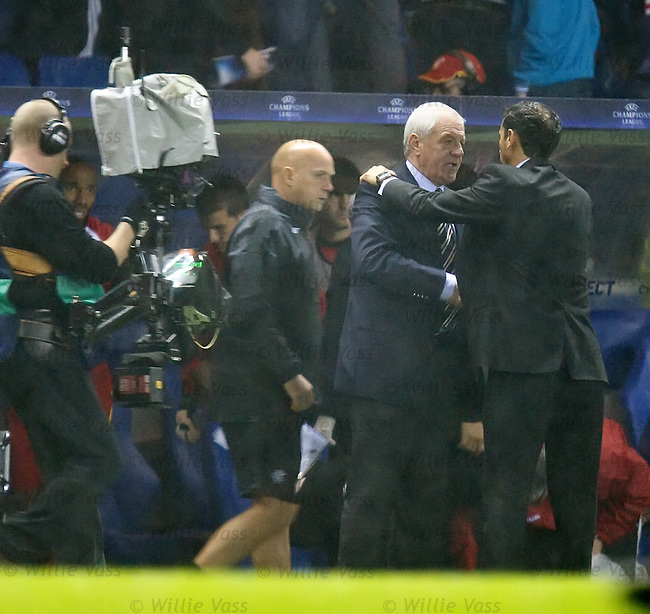 Shellshocked Walter Smith with Sevilla manager Manuel Jiminez at the final whistle