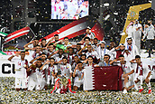 February 1st 2019; Adu Dhabi, United Arab Emirates; Asian Cup football final, Japan versus Qatar;  Players of Qatar celebrate after the awards ceremony