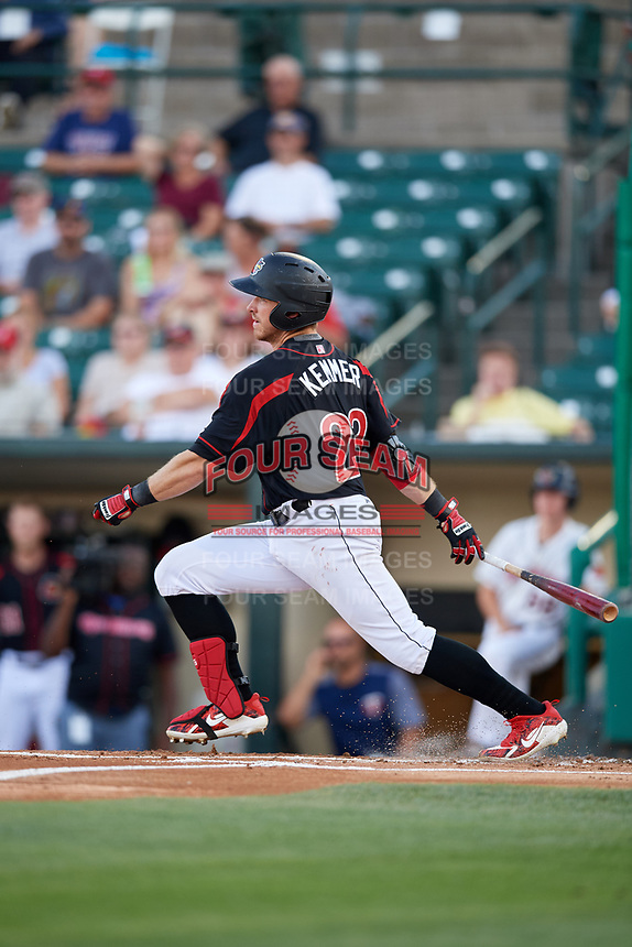 Rochester Red Wings right fielder Jon Kremmer (23) follows through on a swing during a game against the Lehigh Valley IronPigs on September 1, 2018 at Frontier Field in Rochester, New York.  Lehigh Valley defeated Rochester 2-1.  (Mike Janes/Four Seam Images)