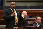 Nevada Assemblyman Jason Frierson, D-Las Vegas, works on the Assembly floor at the Legislative Building in Carson City, Nev., on Tuesday, Feb. 26, 2013..Photo by Cathleen Allison
