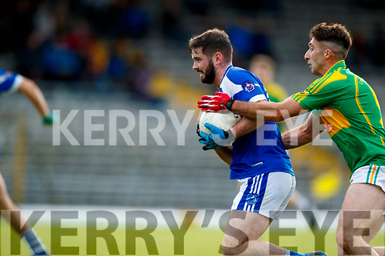 Paul O'Sullivan South Kerry in action against Padraig Griffin  Kerins O'Rahillys in the Kerry Senior Football Championship Semi Final at Fitzgerald Stadium on Saturday.