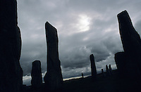Silhouette of Calanish standing stones, Isle of Lewis, Scotland