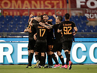 Calcio, Serie A: Roma, stadio Olimpico, 16 settembre 2017.<br /> Roma's Edin Dzeko celebrates with his teammates after scoring during the Italian Serie A football match between AS Roma and Hellas Verona at Rome's Olympic stadium, September 16, 2017.<br /> UPDATE IMAGES PRESS/Isabella Bonotto