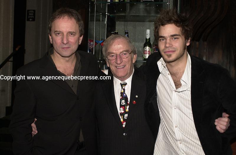 Michel Cote, Jean Lapointe, Sebastien Huberdeau, Premiere Le Dernier Tunnel, March 8 2004. Photo P Roussel