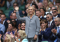 Former tennis player Martina Navratilova is introduced to the Centre Court crowd<br /> <br /> Photographer Rob Newell/CameraSport<br /> <br /> Wimbledon Lawn Tennis Championships - Day 6 - Saturday 6th July 2019 -  All England Lawn Tennis and Croquet Club - Wimbledon - London - England<br /> <br /> World Copyright © 2019 CameraSport. All rights reserved. 43 Linden Ave. Countesthorpe. Leicester. England. LE8 5PG - Tel: +44 (0) 116 277 4147 - admin@camerasport.com - www.camerasport.com