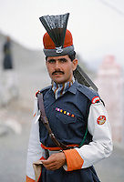 Pakistani soldier in traditional uniform of Kyber Rifles at Khyber Pass border with Afghanistan near Peshawar, Pakistan