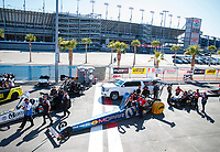 Nov 2, 2019; Las Vegas, NV, USA; NHRA top fuel driver Leah Pritchett during qualifying for the Dodge Nationals at The Strip at Las Vegas Motor Speedway. Mandatory Credit: Mark J. Rebilas-USA TODAY Sports