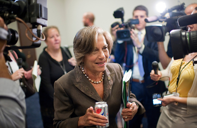 UNITED STATES - SEPTEMBER 14:  Rep. Jan Schakowsky, D-Ill.,  arrives for a meeting of the House Democratic Caucus in the Capitol Visitor Center.  Many reporters asked members about the special election in New York in which republican Bob Turner prevailed.  (Photo By Tom Williams/Roll Call)