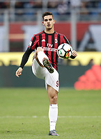 Calcio, Serie A: Milano, stadio Giuseppe Meazza (San Siro), 1 ottobre 2017.<br /> Milan's Andr&eacute; Silva in action during the Italian Serie A football match between Milan and AS Roma at Milan's Giuseppe Meazza (San Siro) stadium, October 1, 2017.<br /> UPDATE IMAGES PRESS/IsabellaBonotto