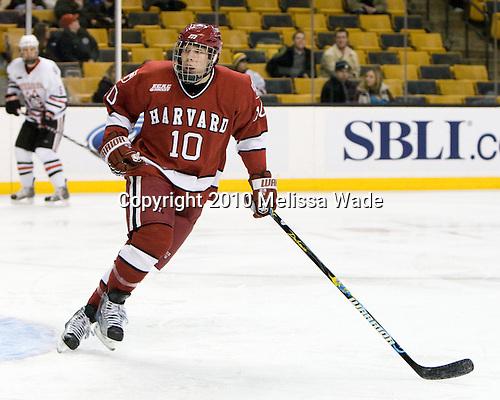 Eric Kroshus (Harvard - 10) - The Northeastern University Huskies defeated the Harvard University Crimson 4-1 (EN) on Monday, February 8, 2010, at the TD Garden in Boston, Massachusetts, in the 2010 Beanpot consolation game.