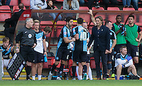 Max Kretzschmar of Wycombe Wanderers replaces Matthew Bloomfield of Wycombe Wanderers during the Sky Bet League 2 match between Leyton Orient and Wycombe Wanderers at the Matchroom Stadium, London, England on 19 September 2015. Photo by Andy Rowland.