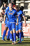 Grimsby Town players celebrate their second goal of the game to make it 0-2 during the Vanamara Conference League match between Woking and Grimsby Town at the Kingfield Stadium, Woking, Surrey<br /> Picture by David Horn/eXtreme aperture photography +44 7545 970036<br /> 07/03/2015