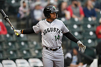 Center fielder Heliot Ramos (14) of the Augusta GreenJackets in a game against the Columbia Fireflies on Saturday, April 7, 2018, at Spirit Communications Park in Columbia, South Carolina. Augusta won, 6-2. (Tom Priddy/Four Seam Images)