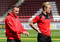 Fleetwood Town players Ashley Hunter and Kyle Dempsey inspect the pitch on arrival at the Sixfields Stadium<br /> <br /> Photographer Andrew Kearns/CameraSport<br /> <br /> The EFL Sky Bet League One - Northampton Town v Fleetwood Town - Saturday August 12th 2017 - Sixfields Stadium - Northampton<br /> <br /> World Copyright &copy; 2017 CameraSport. All rights reserved. 43 Linden Ave. Countesthorpe. Leicester. England. LE8 5PG - Tel: +44 (0) 116 277 4147 - admin@camerasport.com - www.camerasport.com