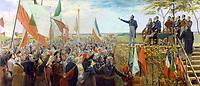 Louis Joseph PAPINEAU  prononçant un discours à l'Assemblee des six-comtes ,tenue les 23 et 24 octobre 1837 à Saint-Charles-sur-Richelieu, Bas-Canada.