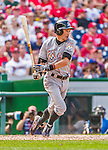 30 August 2015: Miami Marlins outfielder Ichiro Suzuki in action against the Washington Nationals at Nationals Park in Washington, DC. The Nationals defeated the Marlins 7-4 in the third game of their 3-game weekend series. Mandatory Credit: Ed Wolfstein Photo *** RAW (NEF) Image File Available ***