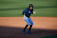 Lakeland Flying Tigers right fielder Jose Azocar (52) leads off second base during the first game of a doubleheader against the Bradenton Marauders on April 11, 2018 at Publix Field at Joker Marchant Stadium in Lakeland, Florida.  Lakeland defeated Bradenton 5-4.  (Mike Janes/Four Seam Images)