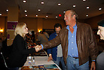 """Barbara Crampton (GL, YR, BB) and John James (AMC, ATWT, Dynasty, The Colbys)  - Actors appear at 25th Anniversary of Chiller Theatre on October 25, 2015 at Sheraton Hotel, Parsippany, NJ. Both Barbara and John were in the same movie - """"Lightning: Fire From The Sky"""" (Photo by Sue Coflin/Max Photos)"""