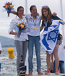 Marina Alabau form Spain (left) Charline Picon from France (center) and Maayan Davidovich podium in class  Rsx during the ISAF Sailing World Championships 2014 at the Real Club Maritimo of Santander on September 19, 2014 in Santander, Spain. Photo by Nacho Cubero / Power Sport Images