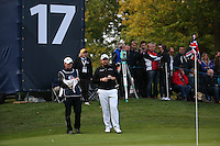 Waiting his turn to putt, Shane Lowry (IRL) in action during the Final Round of the British Masters 2015 supported by SkySports played on the Marquess Course at Woburn Golf Club, Little Brickhill, Milton Keynes, England.  11/10/2015. Picture: Golffile | David Lloyd<br /> <br /> All photos usage must carry mandatory copyright credit (© Golffile | David Lloyd)