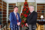 Pat Dawson and Kerry County Council Chairman John Sheahan share a chat in the Library in Killarney House prior to the Council's December meeting on Monday