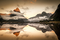 Milford Sound Mirror Reflection, Fiordland National Park, New Zealand - stock photo, canvas, fine art print