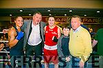 Tralee Boxing Club Kate Taylor v Queen Underwood fight in the Brandon Hotel on Saturday. Pictured  Queen Underwood, Louis Byrne, Spar Oakpark, Kate Taylor, Ryan and Richie Houlihan and Donnie Jack Griffin