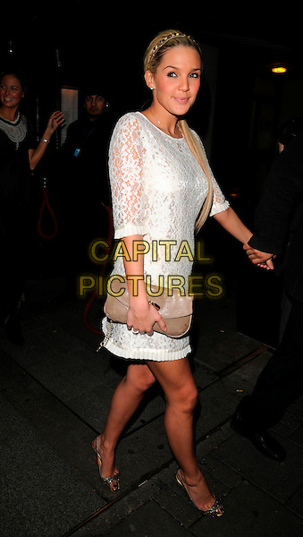 "DANIELLE LLOYD.Andy Scott-Lee's new single ""Unforgettable"" party, Embassy club, London, England..February 5th, 2008.full length white lace beigE clutch bag purse holding hands.CAP/CAN.©Can Nguyen/Capital Pictures"