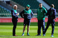 Ireland Head Coach Joe Schmidt looks on. Ireland Captain's Run on February 26, 2016 at Twickenham Stadium in London, England. Photo by: Patrick Khachfe / Onside Images