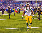 14 December 2014: Green Bay Packers running back DuJuan Harris leaves the field after a game against the Buffalo Bills at Ralph Wilson Stadium in Orchard Park, NY. The Bills defeated the Packers 21-13, snapping the Packers' 5-game winning streak and keeping the Bills' 2014 playoff hopes alive. Mandatory Credit: Ed Wolfstein Photo *** RAW (NEF) Image File Available ***