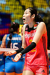 Ting Zhu of China gestures during the FIVB Volleyball Nations League Hong Kong match between China and Argentina on May 29, 2018 in Hong Kong, Hong Kong. Photo by Marcio Rodrigo Machado / Power Sport Images