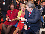 © Joel Goodman - 07973 332324 . 28/09/2016 . Liverpool , UK . TOM WATSON (r) offers Love Heart sweets to DIANE ABBOTT (l) and ROSIE WINTERTON (c) ahead of the Leader's Speech at the close of the final day of the Labour Party Conference at the ACC in Liverpool . Photo credit : Joel Goodman
