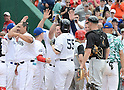 Hideki Matsui (Yankees), MAY 24, 2014 - MLB : Former New York Yankees player Hideki Matsui is congratulated by players after hitting a homerun during the Hall of Fame Classic baseball game in Cooperstown, New York, United States. (Photo by AFLO)