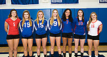 LITCHFIELD, CT-112017JS07- Members of the All-Berkshire League volleyball team, from left, Molly Porch-Northwesten; Alycia Fournier-Lewis Mills; Haley Tharau-Lewis Mills, Anna Szymanski-Lewis Mills; Alexa Spain-Nonnewaug; Madison Conroy-Nonnewaug and Morgan Twombly-Northwestern. <br /> Jim Shannon Republican-American