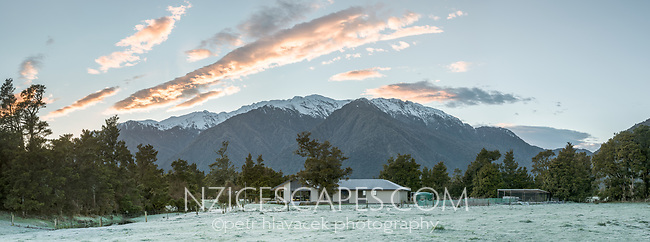 Frosty, winter sunrise at Petr Hlavacek Gallery, Whataroa, South Westland, West Coast, South Island, New Zealand, NZ
