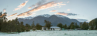 Frosty, winter sunrise at Petr Hlavacek Gallery, Whataroa, South Westland, West Coast, South Island, New Zealand, NZ