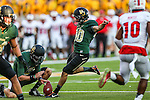Baylor Bears place kicker Chris Callahan (40) in action during the game between the Southern Methodist Mustangs and the Baylor Bears at the McLane Stadium in Waco, Texas. Baylor leads SMU 31 to 0 at halftime.