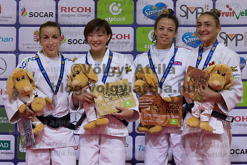 Gold medalist Natsumi Tsunoda (2nd L) of Japan, silver medalist Charline Van Snick (L) of Belgium with bronze medalist Chelsie Giles of Great Britain and Ecaterina Guica of Canada celebrate their victory during an awards ceremony after the Women -52 kg category at the Judo Grand Prix Budapest 2018 international judo tournament held in Budapest, Hungary on Aug. 10, 2018. ATTILA VOLGYI