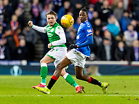 5th February 2020; Ibrox Stadium, Glasgow, Scotland; Scottish Premiership Football, Rangers versus Hibernian; Scott Allan of Hibernian and Joe Aribo of Rangers