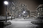 Snowy walk near river at night Dayton Ohio