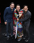 """Erik Lochtefeld, Marty Lawson and Eric William Morris during the Broadway Opening Night Actors' Equity Legacy Robe honoring Marty Lawson for """"King Kong - Alive On Broadway"""" at the Broadway Theater on November 8, 2018 in New York City."""