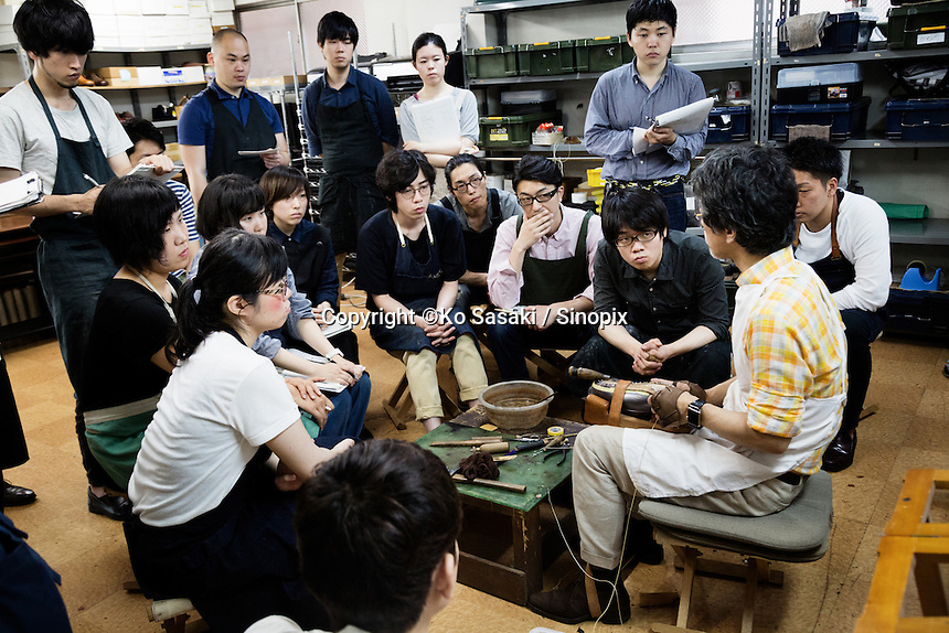 Chiro Yamaguchi is teaching shoe making to students at Sarukawa Footwear College