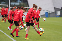 20200605 - TUBIZE , Belgium : Red flames juggle the ball  during a training session of the Belgian national women's soccer team called the Red Flames during their after Corona – Covid training week, on the 5 th of June 2020 in Tubize.  PHOTO SEVIL OKTEM| SPORTPIX.BE