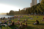 Vancouver, British Columbia, Canada, Summer night, English Bay, First Beach, West End,