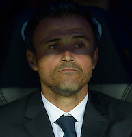 MADRID - ESPAÑA - 25-10-2014: Luis Enrique, tecnico de Barcelona durante partido de la Liga de España, Real Madrid y Barcelona en el estadio Santiago Bernabeu de la ciudad de Madrid, España. / Luis Enrique, coach of Barcelona during a match between Real Madrid and Barcelona for the Liga of Spain in the Santiago Bernabeu stadium in Madrid, Spain Photo: Asnerp / Patricio Realpe / VizzorImage.