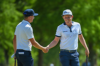 Cameron Smith (USA) is congratulated by Jonas Blixt (SWE) after sinking his birdie putt on 7 during Round 1 of the Zurich Classic of New Orl, TPC Louisiana, Avondale, Louisiana, USA. 4/26/2018.<br /> Picture: Golffile | Ken Murray<br /> <br /> <br /> All photo usage must carry mandatory copyright credit (&copy; Golffile | Ken Murray)