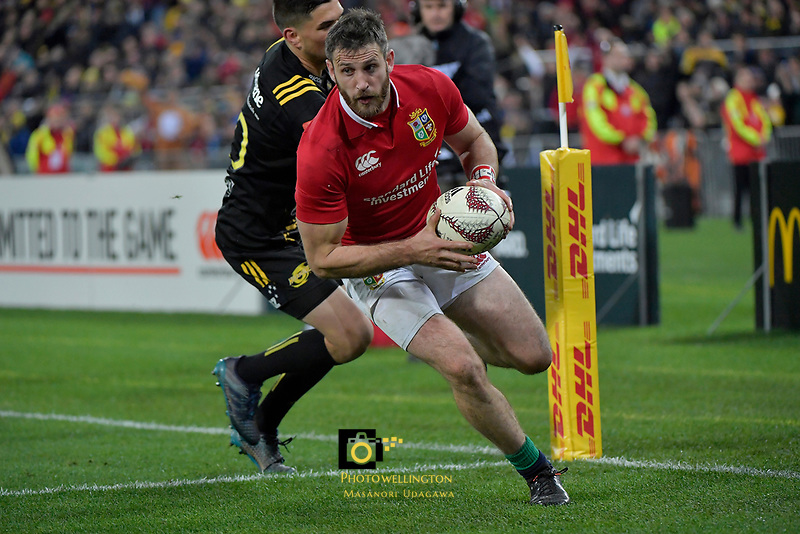 Lions' Tommy Seymour in action during the New Zealand Lions Series - Hurricanes v British and Irish Lions at Westpac Stadium, Wellington, New Zealand on Tuesday 27 June 2017.<br /> Photo by Masanori Udagawa<br /> www.photowellington.photoshelter.com.